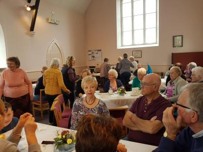 A full house enjoying the cream tea