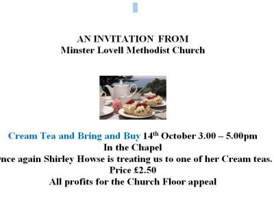 cream tea Minster Lovell 14 Oct 17